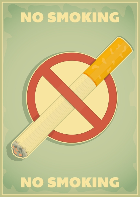 Retro poster - The Sign No Smoking in Vintage Style - Vector illustration