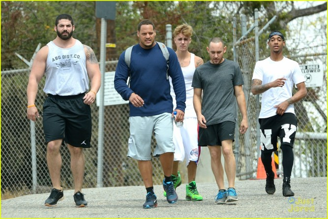 Justin Bieber goes for a jog with his Posse